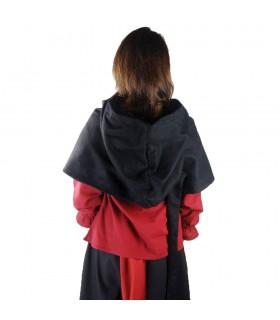 Gugel médiéval de la laine modèle Anita, noir