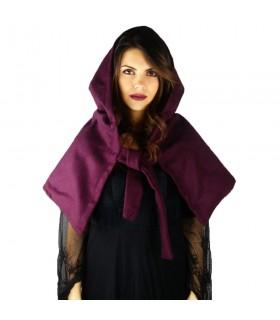 Gugel médiéval de la laine modèle Anita, violet