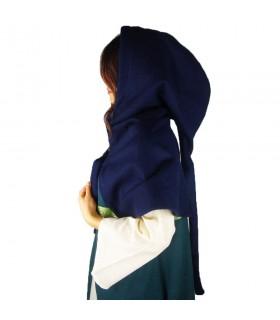 Gugel médiéval de la laine modèle Anita, bleu