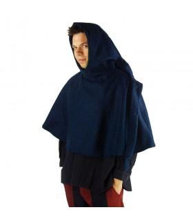 Gugel médiéval de la laine modèle de Paul, bleu