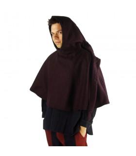 Gugel médiéval de la laine modèle de Paul, brun foncé
