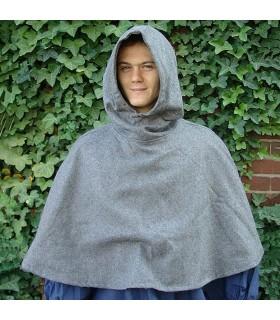 Gugel médiéval de la laine modèle de Paul, gris