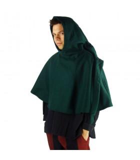 Gugel médiéval de la laine modèle de Paul, vert