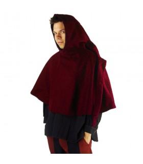 Gugel médiéval de la laine modèle de Paul, rouge