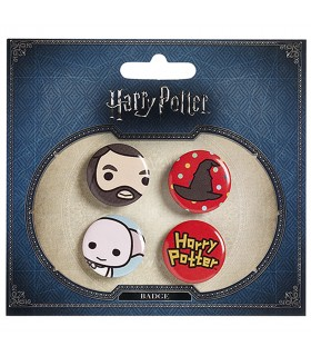 Set de 4 badges, Hagrid, Chapeau, Dobby, et Harry Potter