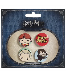 Set de 4 badges, Ron, Draco, Harry, et le logo Harry Potter