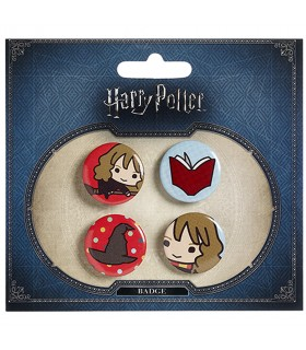 Set de 4 badges, Hermione, un Livre, un Chapeau, et Hermione sur le balai