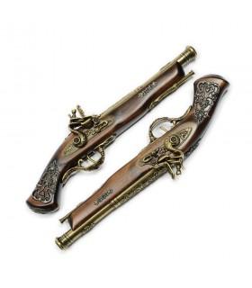 Set de pistolets de duel plaqué or