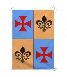 Bannière Médiévale de Quartiers de Croix des Templiers (70x100 cms.)