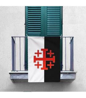 Bannière avec la Croix de l'Ordre Saint-Sépulcre de Jérusalem (70x100 cm.)