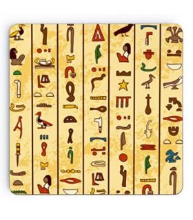 Sous-verres hiéroglyphes égyptiens sur bois, 9 cm