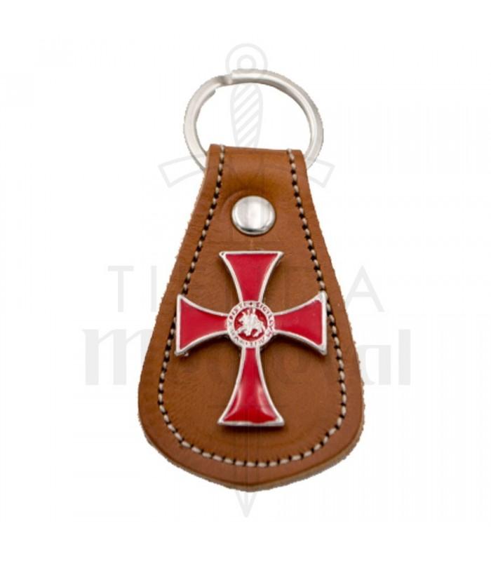 Porte-clés en cuir marron et Croix en métal et d