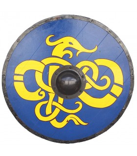 Bouclier Viking Tribal Bleu Guindeau bois et de l'acier