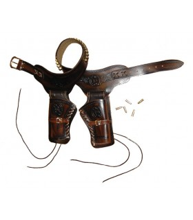 cartouchière en cuir pour 2 revolvers 24 balles