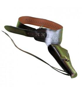 Ceinture à munitions en cuir pour 1 revolver, (pour gauchers).