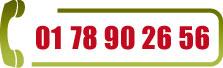 Téléphone FRANCE - Du lundi au vendredi de 8:45h à 12:30h et de 13:30h à 17:15h: 01 78 90 26 56